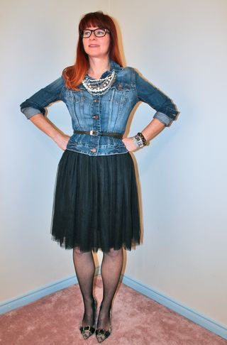 Black tulle skirt and H&M jean jacket