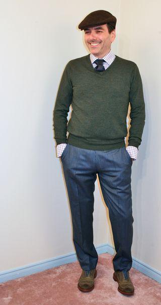 Blue pin stripe mens pants