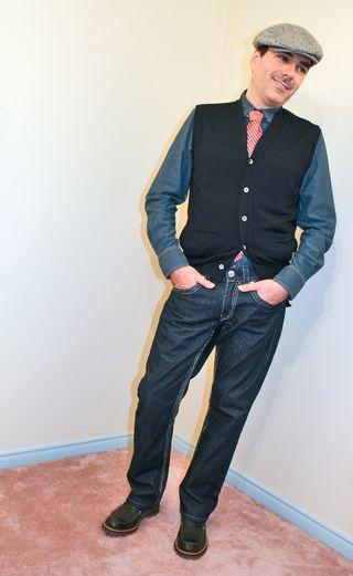 Orange stripe tie jeans jean dress shirt