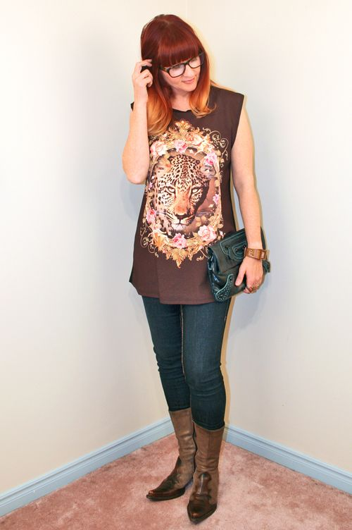Leopard tunic forever 21 cowboy boots jeans