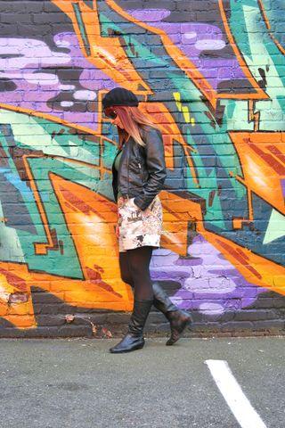 Black leather jacket black boots