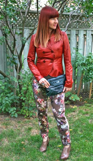 Floral pants leather jacket
