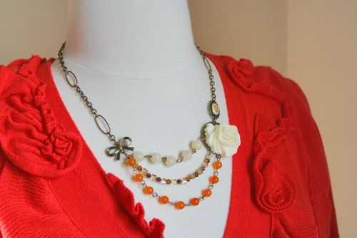 Vintage orange white beaded necklace