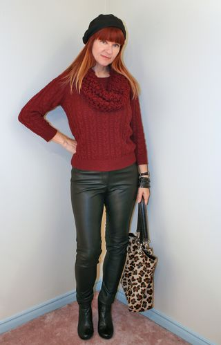 Burgundy sweater leather pants