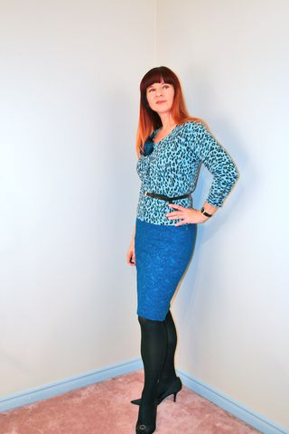 Blue lace skirt leopard H&M sweater