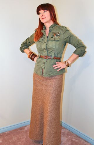 Tweed maxi skirt army jacket