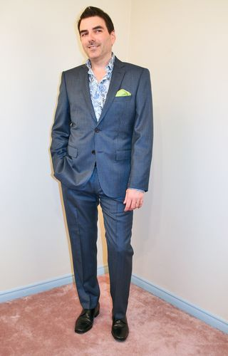 Blue pin stripe suit hugo boss floral dress shirt