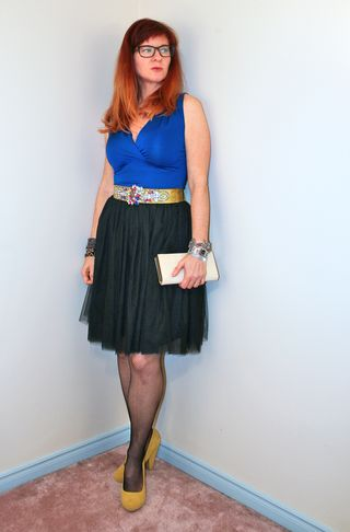 Black tulle skirt blue top
