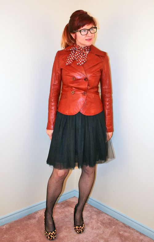 Rust leather jacket black tulle skirt leopard shoes