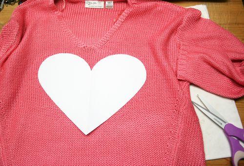 DIY heart shape sweater