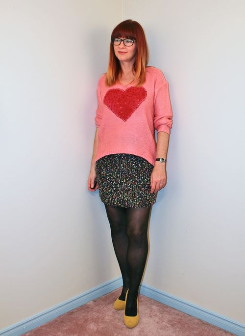 Black tweed skirt DIY painted heart sweater