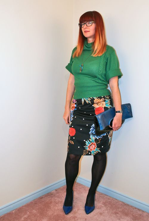 Green sweater floral anthropologie skirt