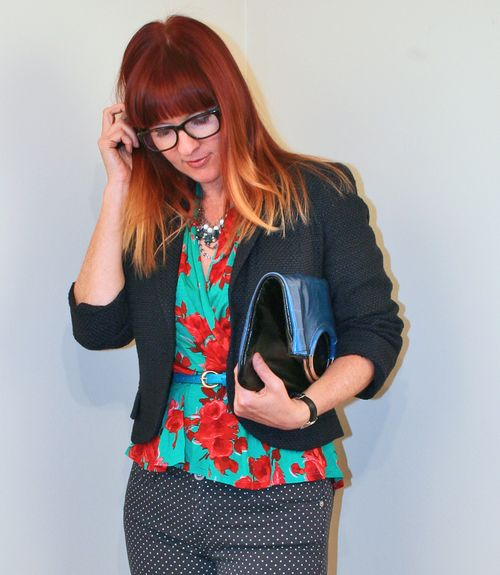 Red rose top blue anthro blazer