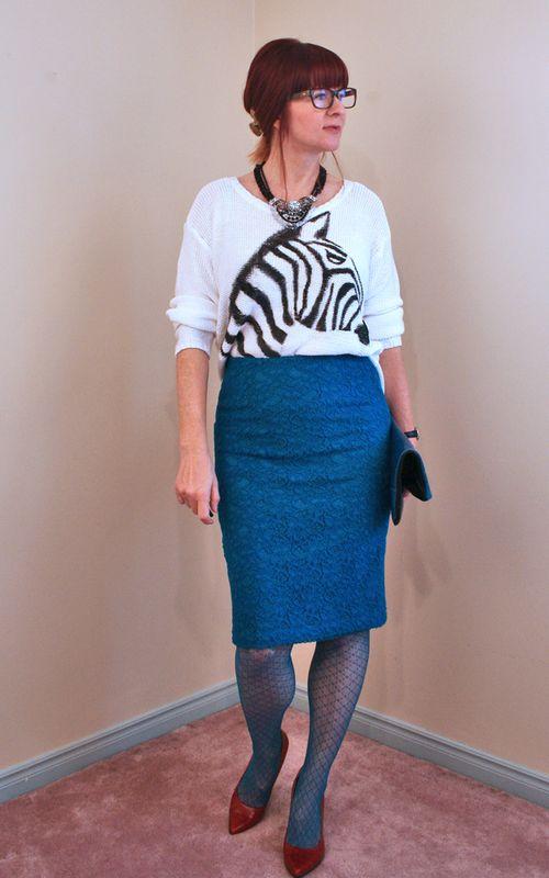 DIY zebra blue pencil skirt