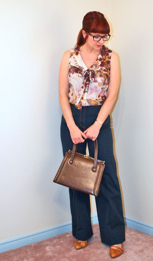 Brown vintage handbag floral bow blouse