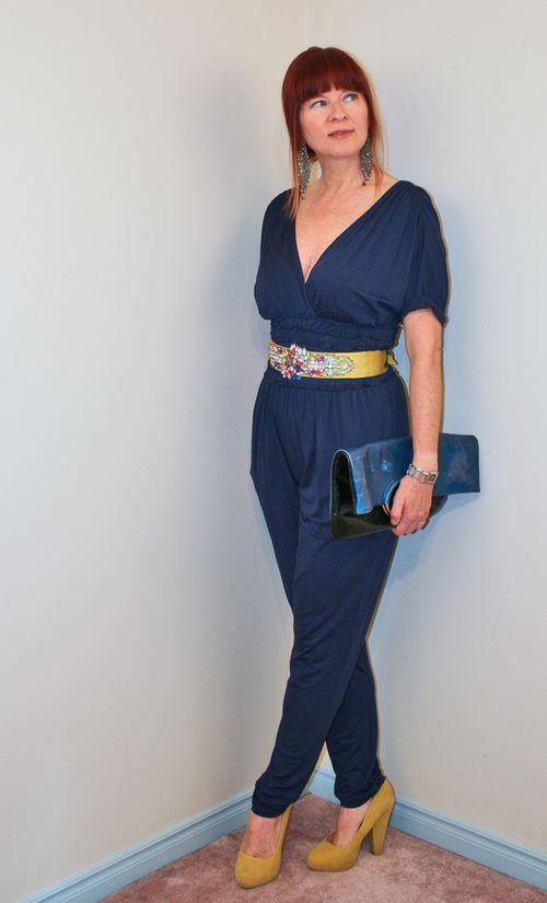 Yellow heels blue jumpsuit