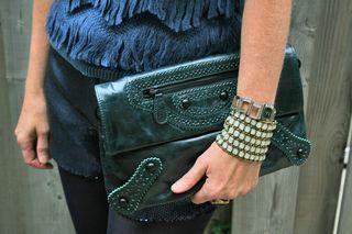 Teal leather clutch danier