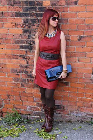 Rust leather dress