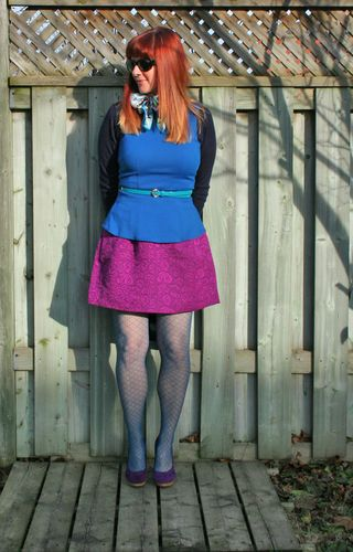 Blue Gap sweater magenta skirt