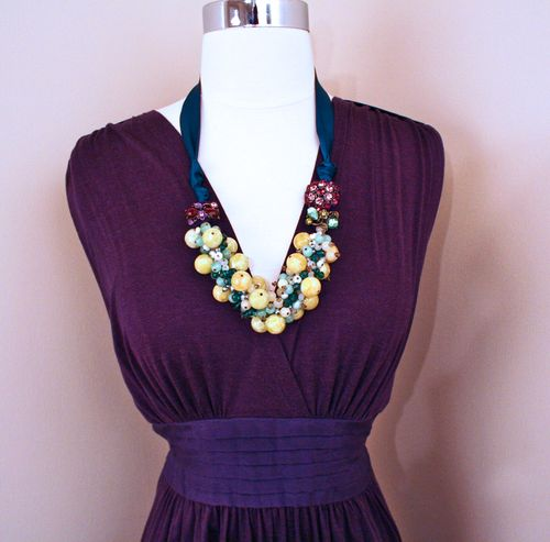 Yellow green blue purple necklace1000