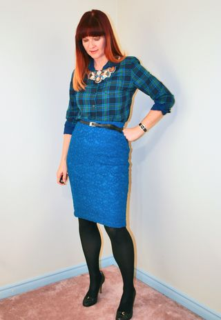 Necklace blue skirt plaid top