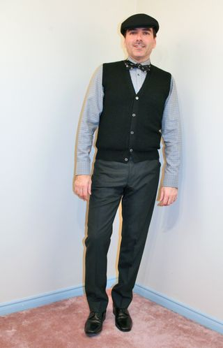 Pattern mens dress shirt black sweater vest