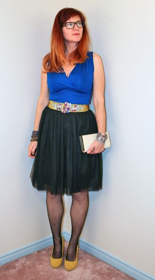 Sparkle belt blue top black tulle skirt
