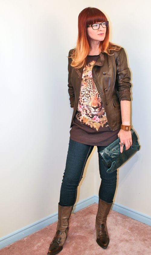 Leopard shirt brown leather jacket jeans