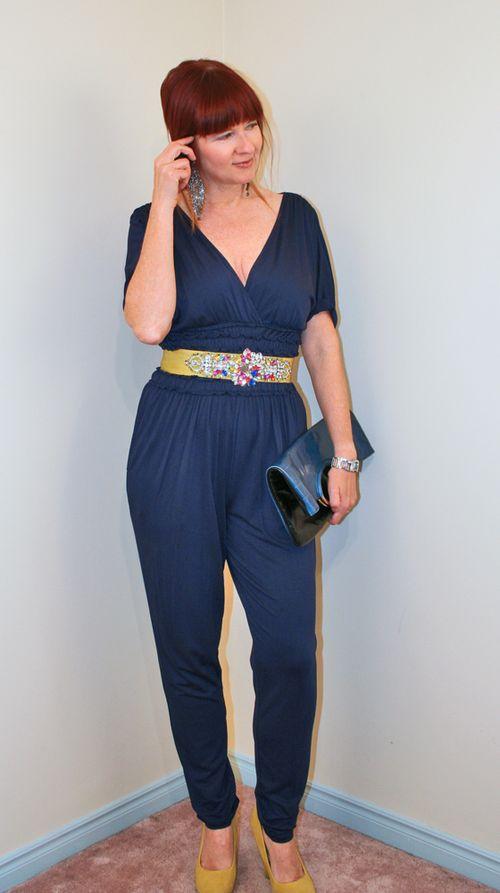 Blue jumper yellow sparkle belt