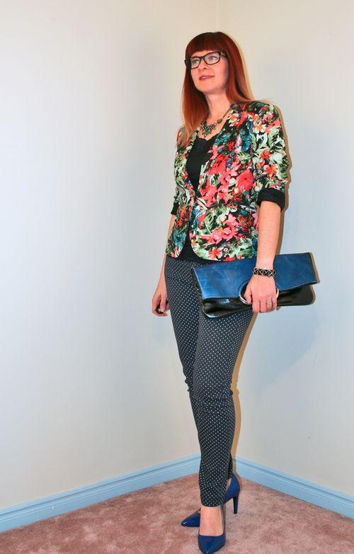 Polka dot jeans floral blazer