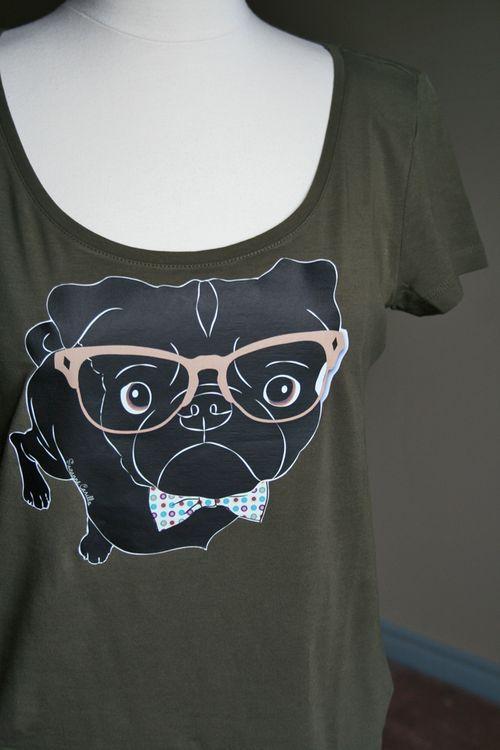 Black pug wearing glasses tshirt