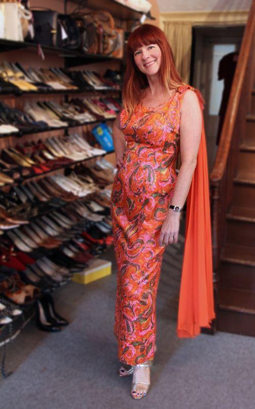 Orange pink gale mitchell 1960s vintage gown