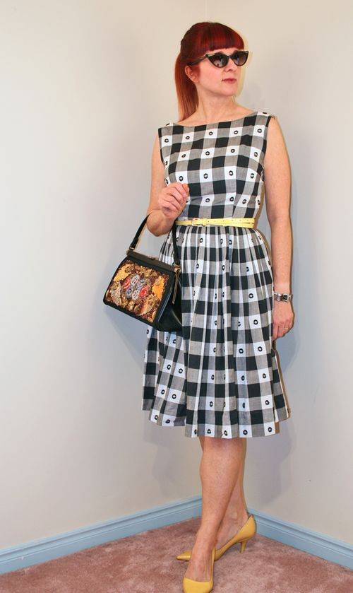 Black and white gingham vintage dress