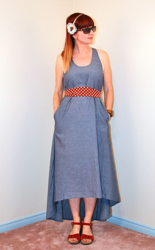Chambray high low dress polka dot belt