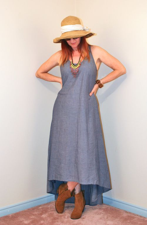 High low cambray jean dress
