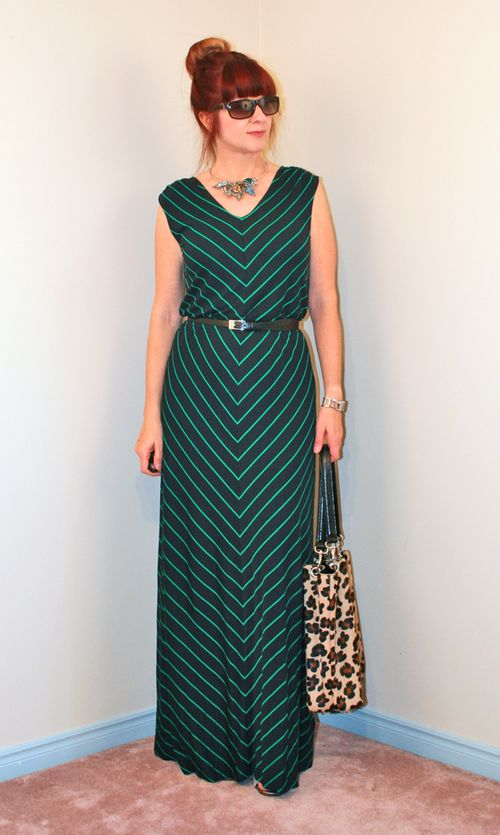 Striped maxi dress leopard tote