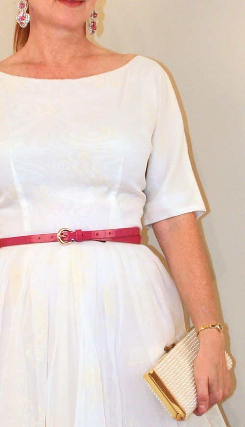 Vintage 1950 dress with cream overlay