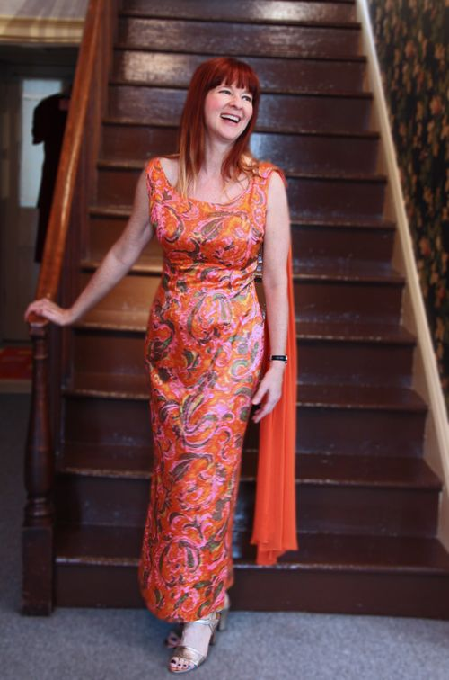 Gold orange pink 1960's vintage dress