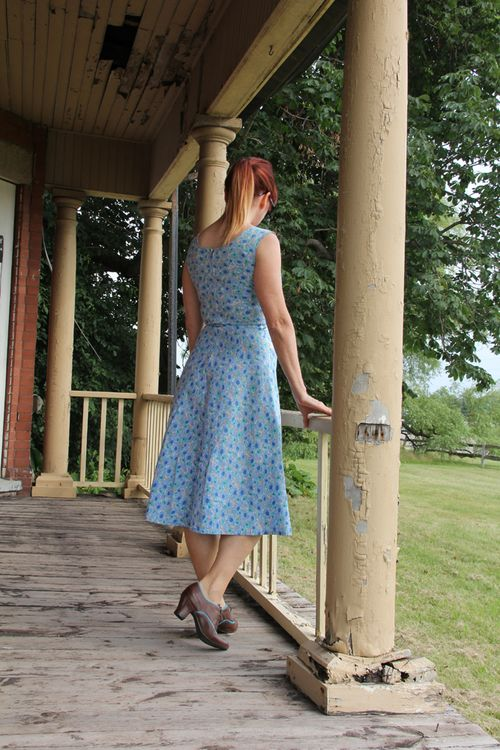 Vintage light blue floral dress