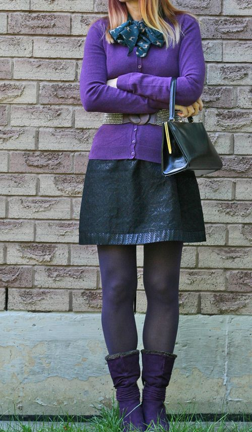 Purple sweater black cocktail dress