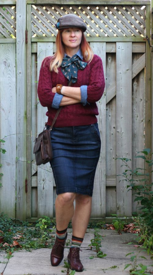 Anthropologie pencil denim skirt