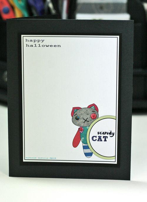 Halloween card scardey cat1