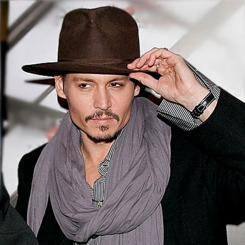 Johnny-depp BROWN BORSALINO FEDORA GREY SCARF STRIPED SHIRT