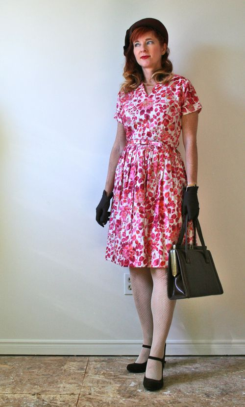 1950's pink patterned fit and flare dress