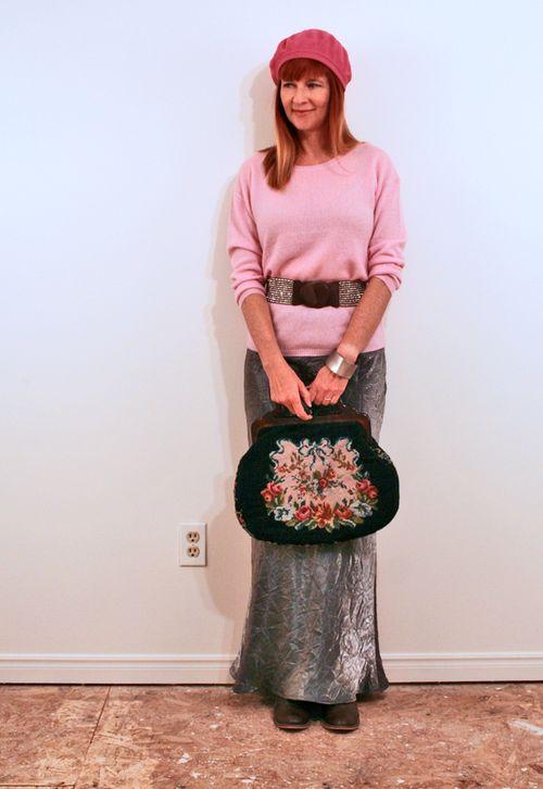 Pink beret vintage embroidered tapestsry handbag