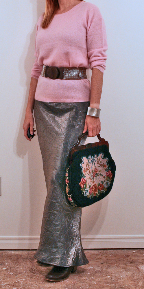 Silver maxi skirt pink sweater