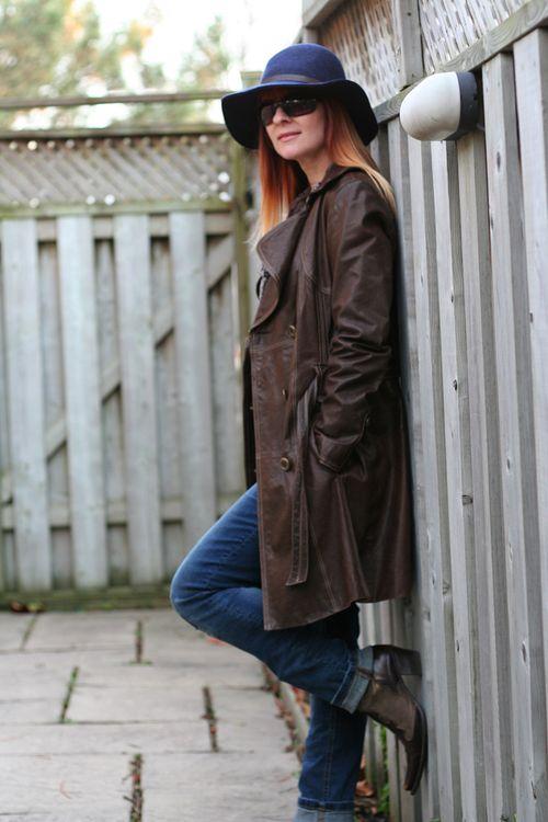 Danier leather coat blue gap fedora