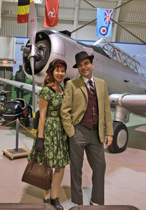 Robert and I by plane 1940s style