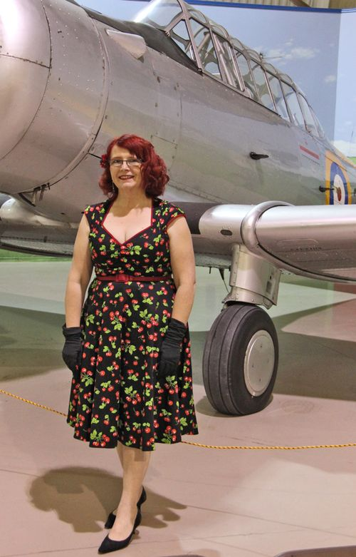 Hazel in blackbird cherry dress