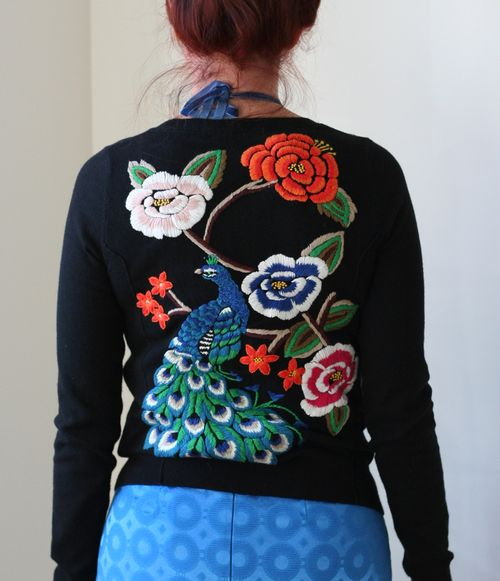 Peacock embroidered cardigan sweater